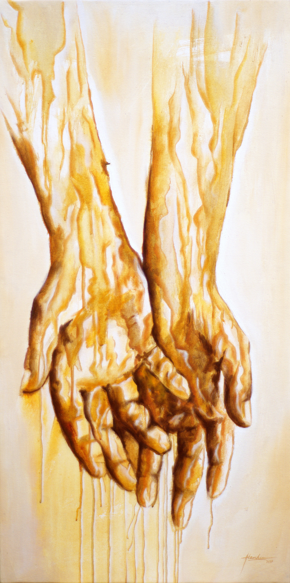All I own is in the palm of my hand by Alamelu Annhamalai, Impressionism Painting, Acrylic on Canvas, Marigold color