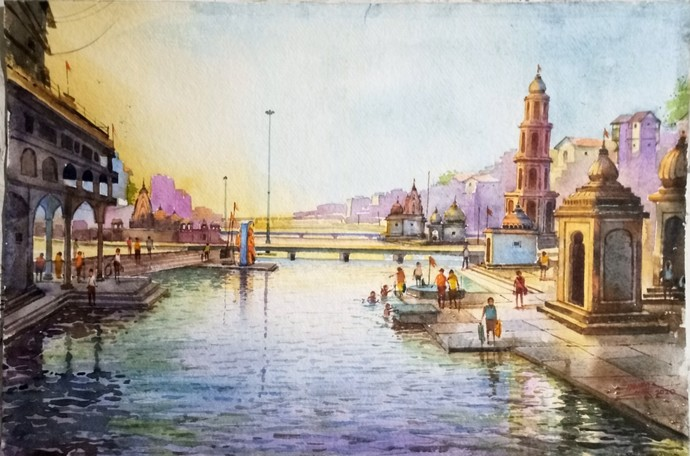 Ramkund Nashik- i by Ananda Ahire, Impressionism Painting, Watercolor on Paper, Masala color