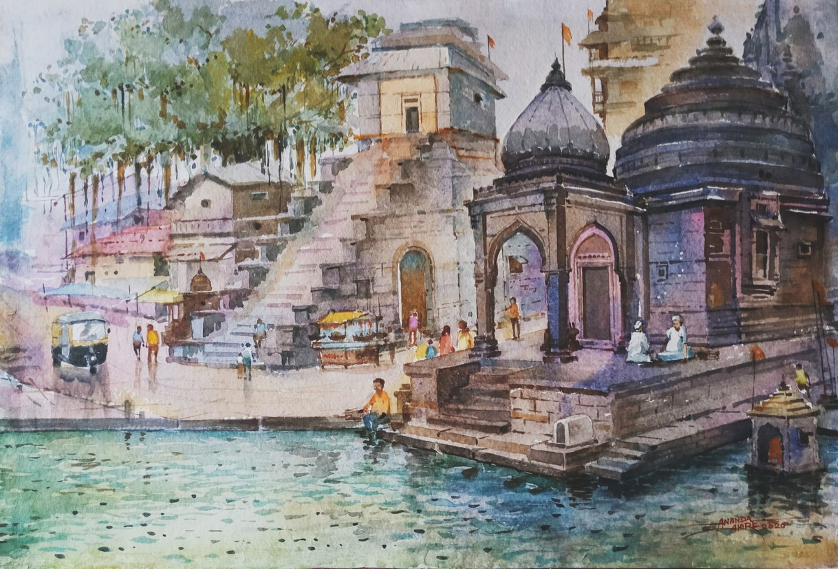 Nilkantheshwar Temple Panchvati Nashik by Ananda Ahire, Impressionism Painting, Watercolor on Paper, Gray color