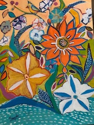 Our Garden I by Simple Mohanty, Decorative Painting, Acrylic on Canvas,
