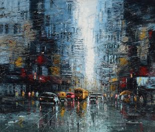 The City of Joy by Purnendu Mandal, Impressionism Painting, Oil on Canvas, Outer Space color