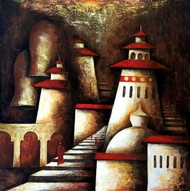 The Chosen Path by Neeti Aggarwal, Geometrical Painting, Mixed Media on Canvas, Pavlova color