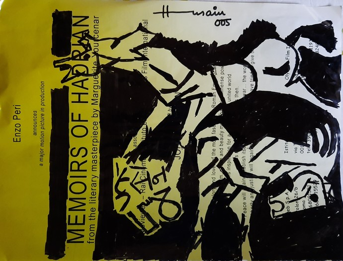 Horses by M F Husain, Expressionism Drawing, Pen & Ink on Paper, Kangaroo color