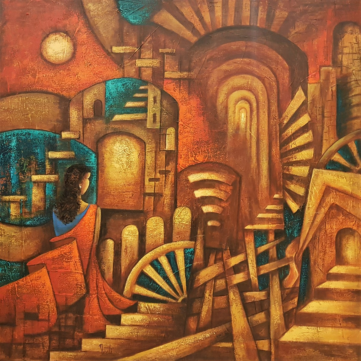 Introspection by Neeti Aggarwal, Geometrical Painting, Acrylic on Canvas, Mule Fawn color