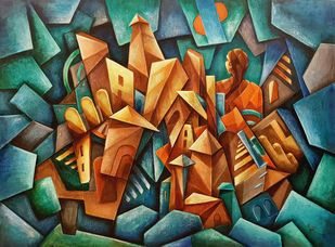 Mystic Voyage by Neeti Aggarwal, Cubism Painting, Acrylic on Canvas,
