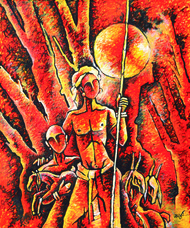 shepherd - 002 by Masud Doctor, Expressionism Painting, Acrylic on Canvas, Punch color