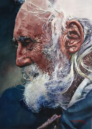 Beard man by Uday Bhan, Impressionism Painting, Watercolor on Paper, Silver color