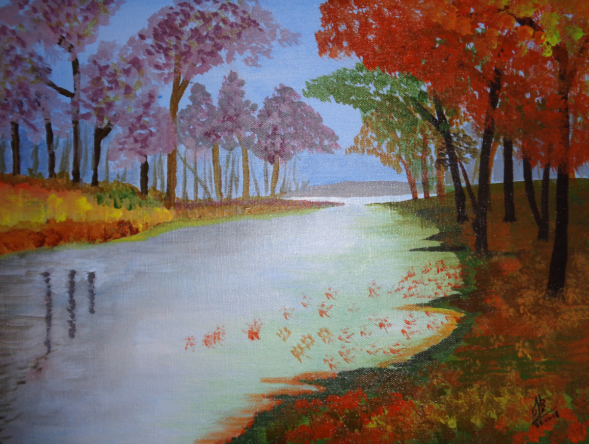 River Scape Digital Print by Tejal Bhagat,Impressionism