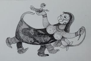 Shristi by Rakhee Kumari, Illustration Drawing, Ink & Pastels on Paper, Bombay color