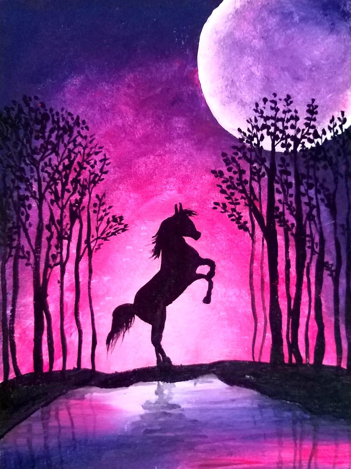 Moonlight Landscape by Meenakshi , Decorative Painting, Acrylic on Canvas,