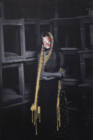 my being behind veil by peaush vikram panesar, Image Photography, Mixed Media on Canvas,