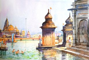 Ramkund Godavari Nashik - ii by Ananda Ahire, Impressionism Painting, Watercolor on Paper,