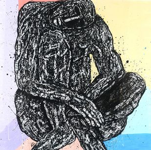 Introspection ( The isolated Man series) by Ritu Dhillon, Expressionism Painting, Mixed Media on Paper,