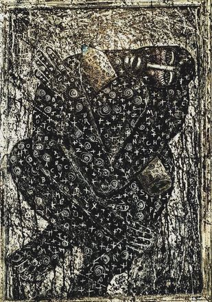 Writers block ( The Isloated Man series) by Ritu Dhillon, Expressionism Painting, Mixed Media on Wood,