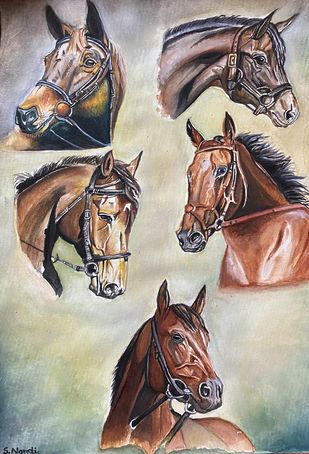 Horses by Suraj Nandi, Realism Painting, Watercolor on Paper,