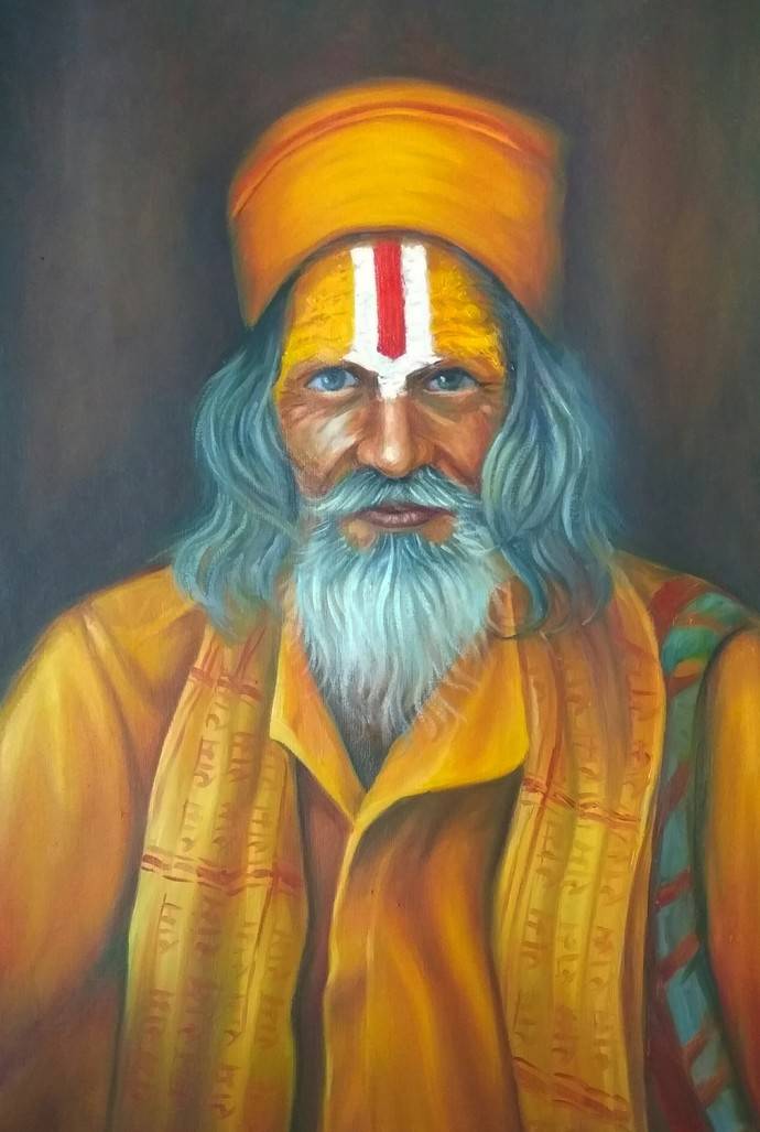 Sadhu by Ram Rokade, Expressionism Painting, Oil on Paper,