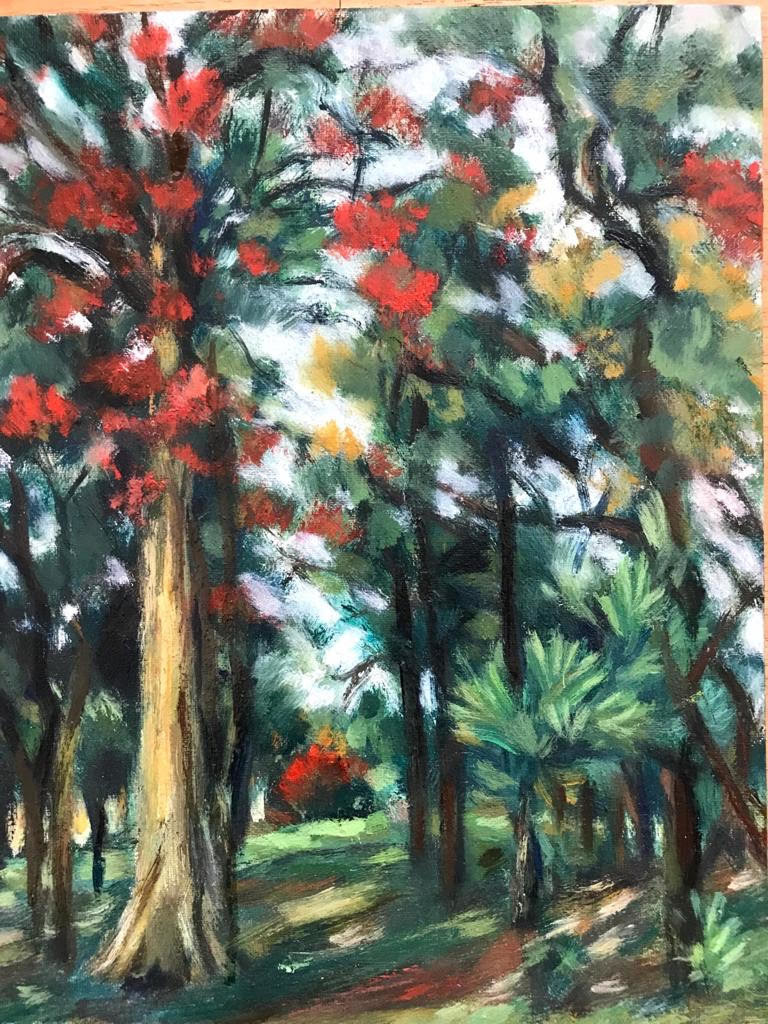 Song of the trees by Sujata Khanolkar, Impressionism Painting, Oil on Canvas,