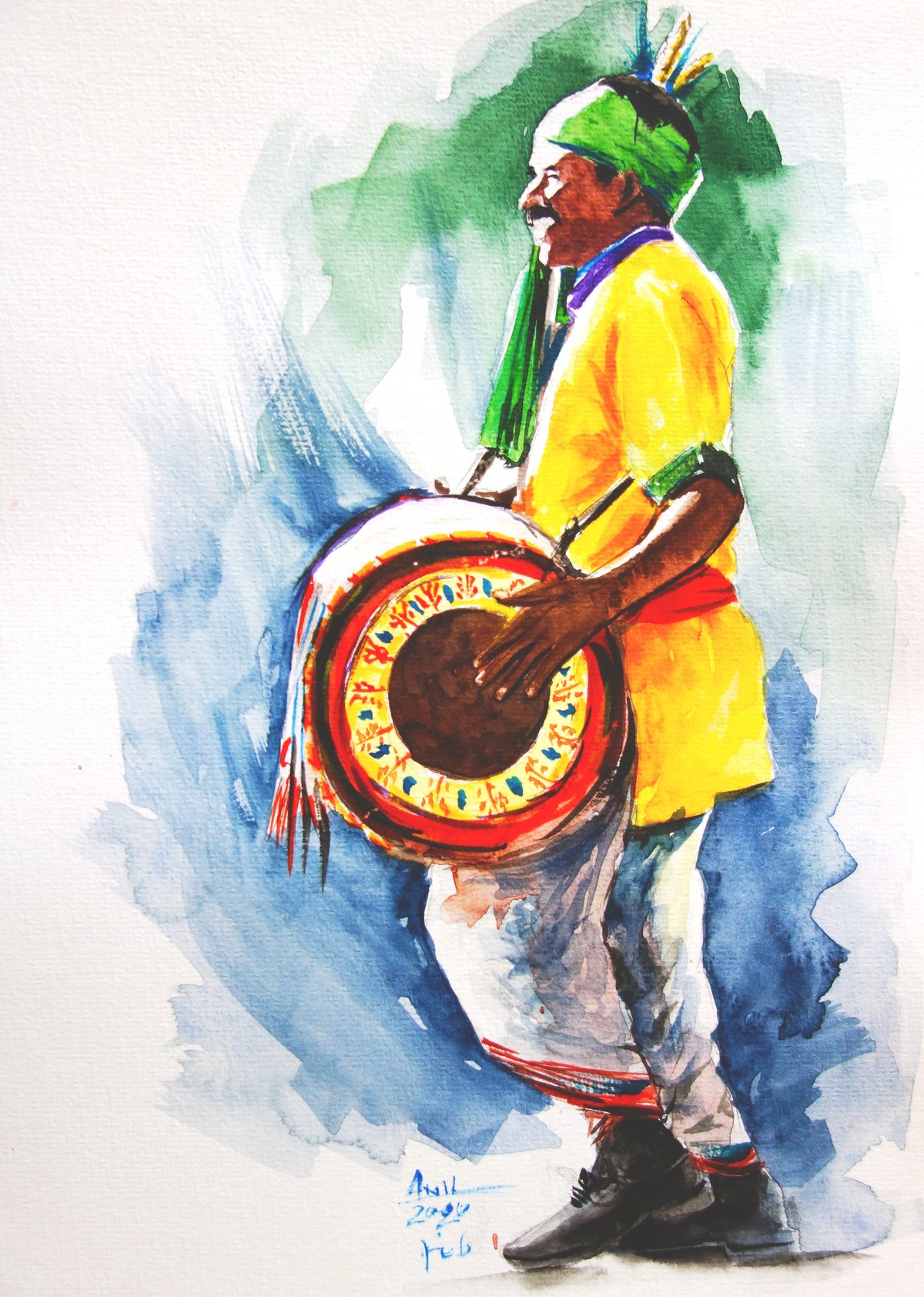 Tribal Man (Sarhul Festival) by Anil Kumar, Impressionism Painting, Watercolor on Paper,