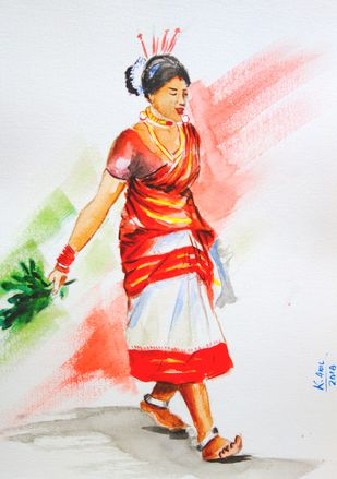 Tribal Woman by Anil Kumar, Impressionism Painting, Watercolor on Paper,