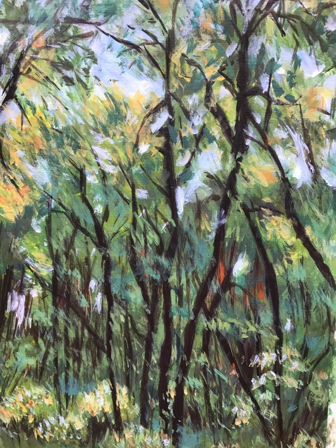 Song of the trees-2 by Sujata Khanolkar, Impressionism Painting, Oil on Canvas,