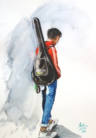 Guitarist by Anil Kumar, Impressionism Painting, Watercolor on Paper,