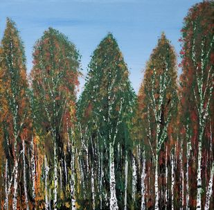 Birch Tree Forest by Gitika Singh, Expressionism Painting, Acrylic on Canvas,