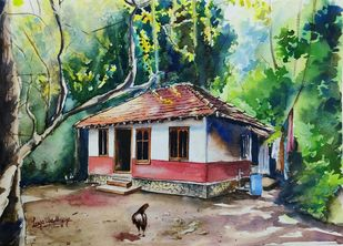 Simple living by Lasya Upadhyaya, Illustration Painting, Watercolor on Paper,