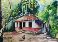 Simple living by Lasya Upadhyaya, Illustration Painting, Watercolor on Paper,