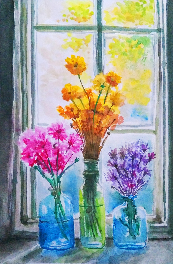 flower vase by MITHUN CA, Expressionism Painting, Watercolor on Paper,