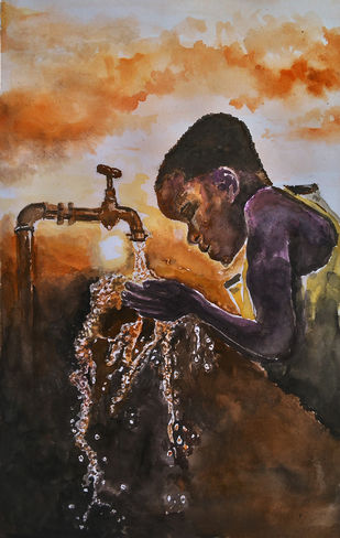Conserve water for them by MITHUN CA, Impressionism Painting, Watercolor on Paper,