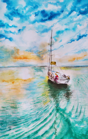 sailboat on sea by MITHUN CA, Expressionism Painting, Print on Paper,