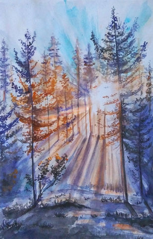 sunrays by MITHUN CA, Expressionism Painting, Watercolor on Paper,