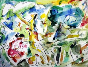 on the roof by Judhajit Sengupta, Abstract Painting, Watercolor & Ink on Paper,