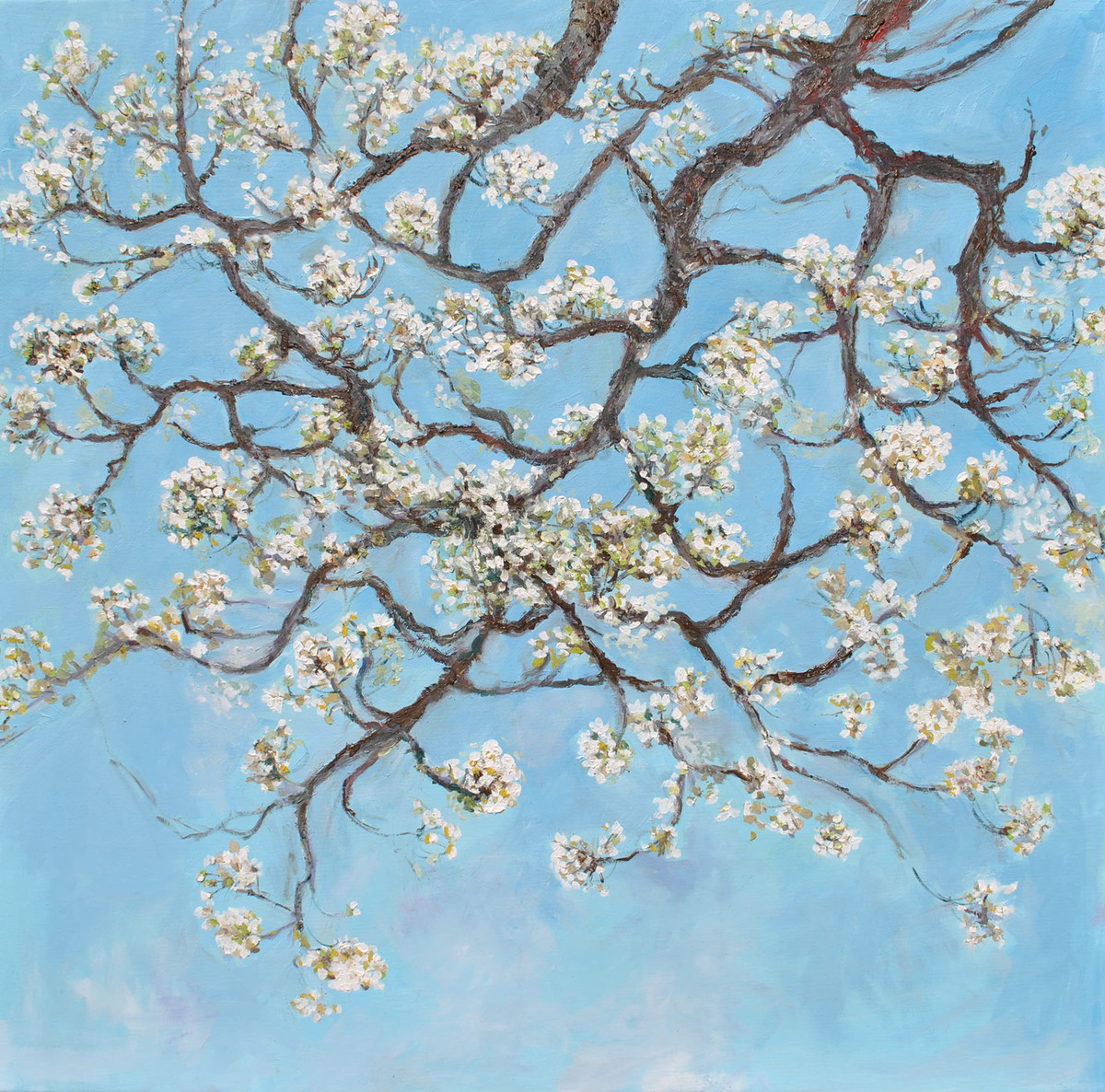 Cherry Blossom by Animesh Roy, Expressionism Painting, Oil on Linen,