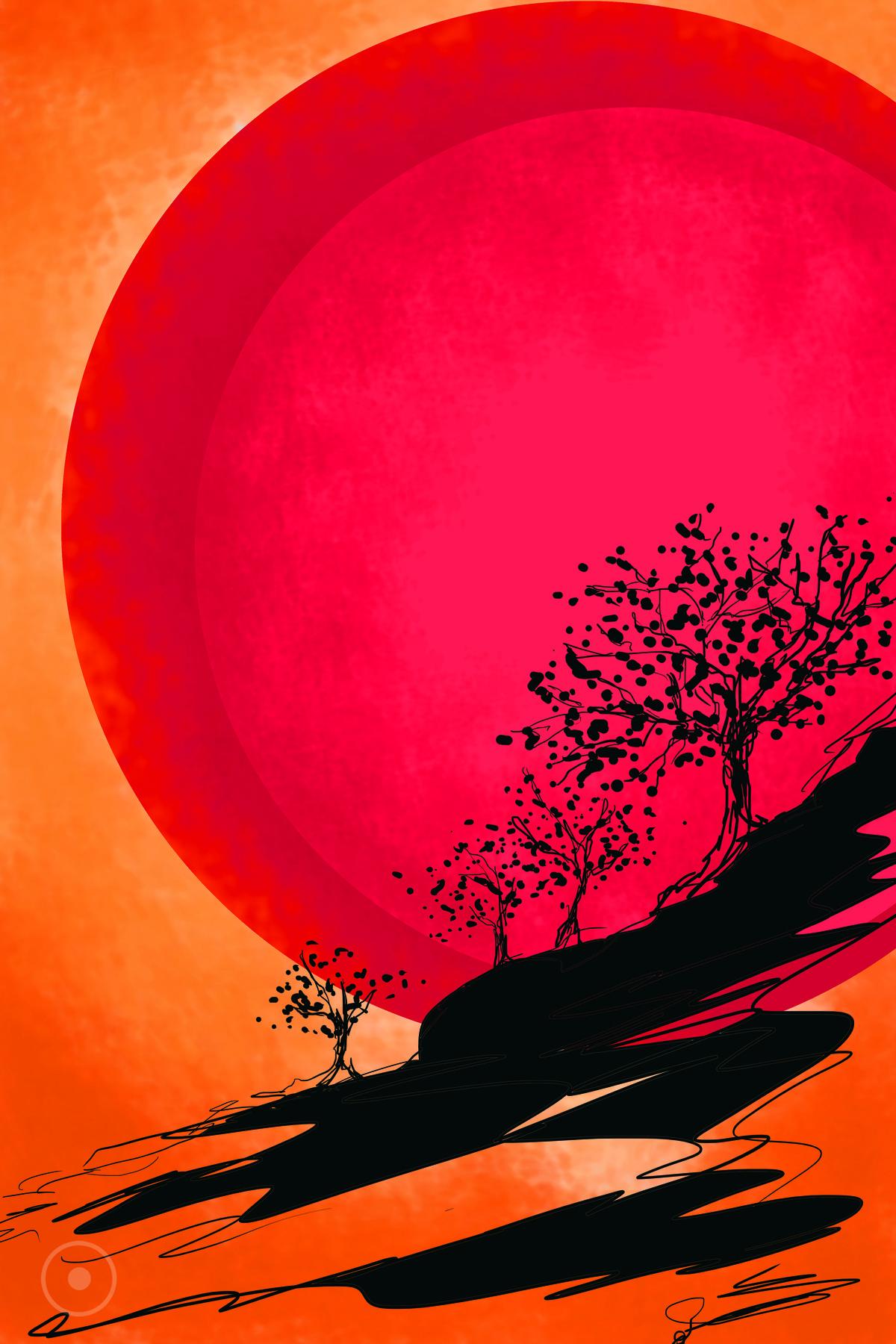 Sun by Lavanya Srinivas, Digital Digital Art, Digital Print on Canvas,