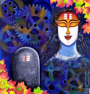 Digambara by SUSMITA MANDAL, Decorative Painting, Acrylic on Canvas,