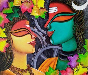 Uma-Shankar by SUSMITA MANDAL, Decorative Painting, Acrylic on Canvas,