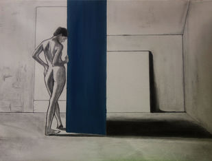 Bleu de Froid by Deeptika Bhagavathi, Expressionism Painting, Charcoal on Canvas,
