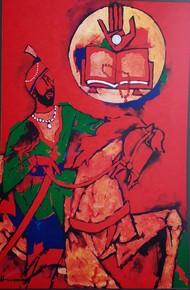SIKHISM -THEORAMA by M F Husain, Expressionism Serigraph, Etching & Serigraph,