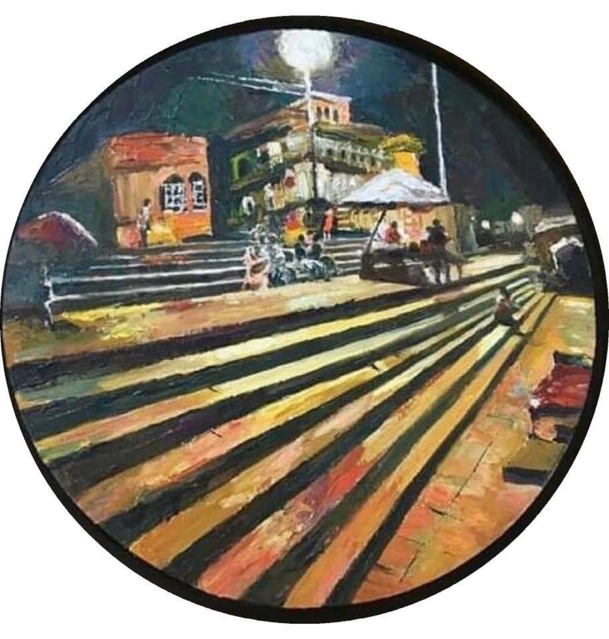 Varanasi Ghat at Night by Simple Mohanty, Expressionism Painting, Oil on Canvas,