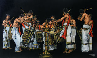 The climax of the drum beat by Mopasang Valath, Expressionism Painting, Acrylic on Canvas,