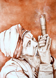 Sadhu Smoking by HULLAS JAIN, Expressionism Painting, Watercolor on Paper, Wafer color