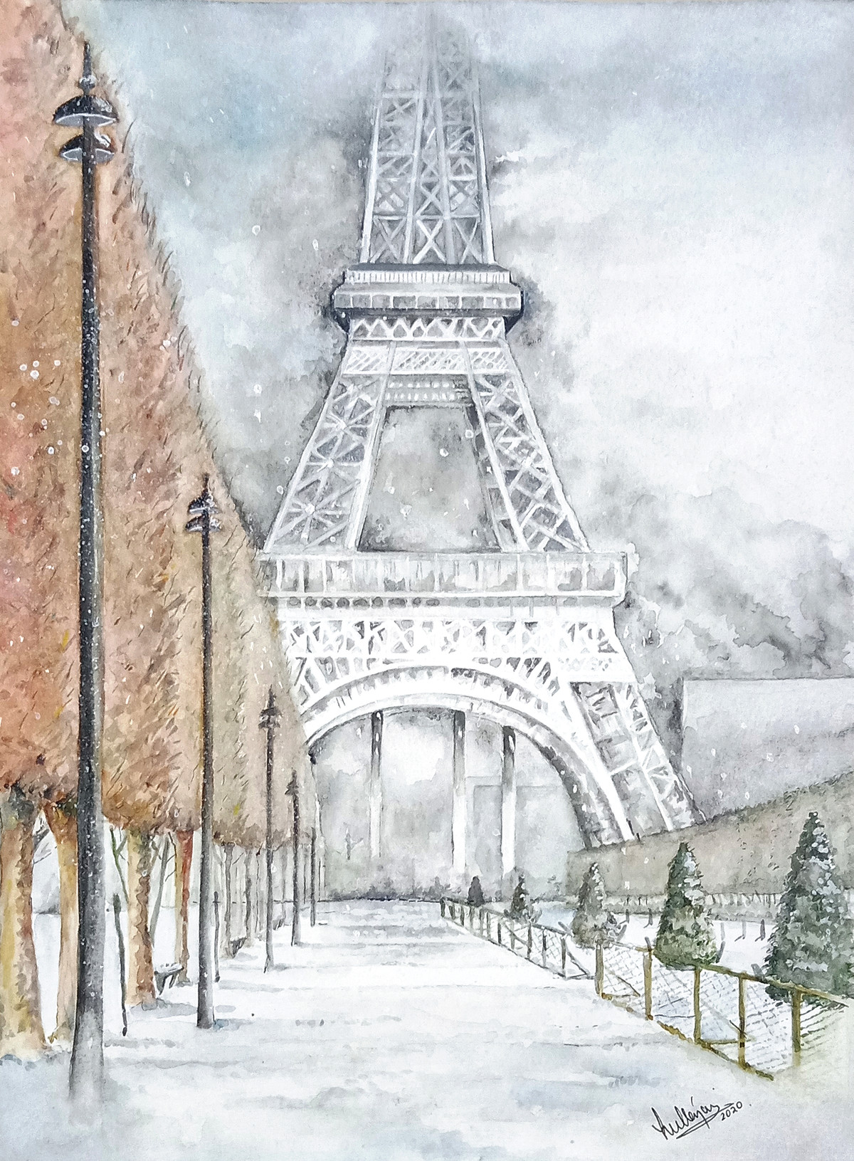 LOVE IN PARIS by HULLAS JAIN, Impressionism Painting, Watercolor on Paper, Iron color