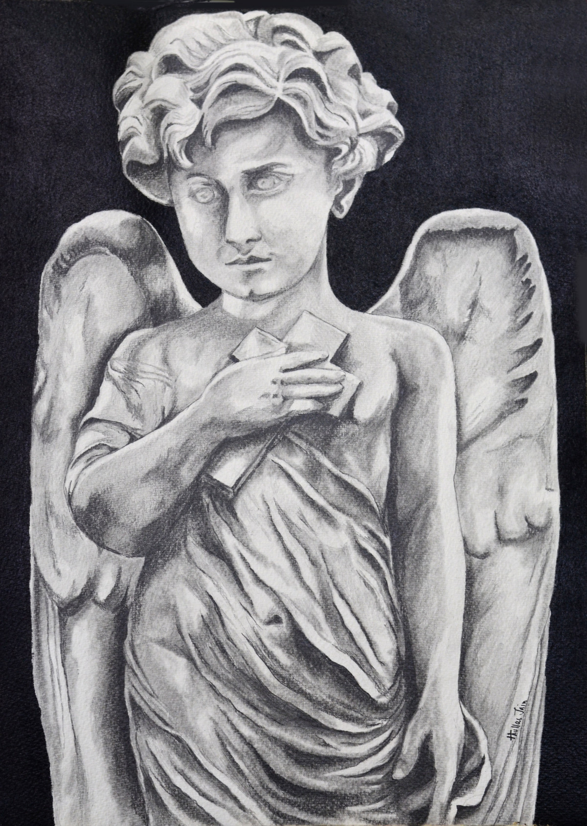 Little angel by HULLAS JAIN, Illustration Drawing, Charcoal on Paper, Baltic Sea color