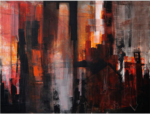 Cityscape 1 by Arnab Mukherjee, Abstract Painting, Acrylic on Canvas, Antique Brass color