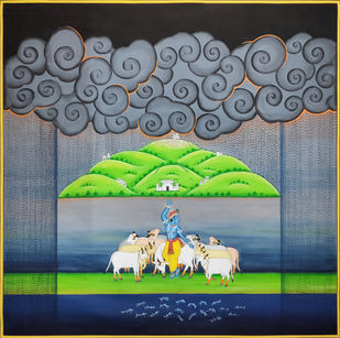 Krishna with Cows by Unknown Artist, Folk Painting, Stone Colour on Cloth,