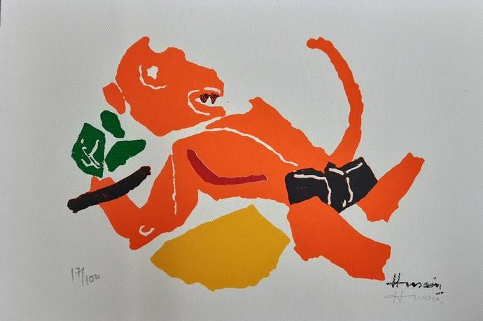 Hanuman(Kite series) by M F Husain, Expressionism Serigraph, Etching & Serigraph,