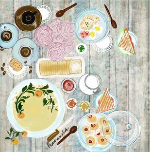 English Cookbook by Prashansha Shrivastava, Digital Digital Art, Digital Print on Paper, Celeste color
