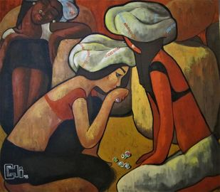 A game of marbles by Suruchi Jamkar, Expressionism Painting, Acrylic on Canvas,