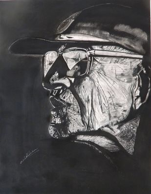 Wrinkles by Shailendra Khadkikar, Illustration Drawing, Charcoal on Paper, Silver color